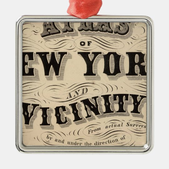 Title Page Atlas of New York, vicinity Metal Ornament