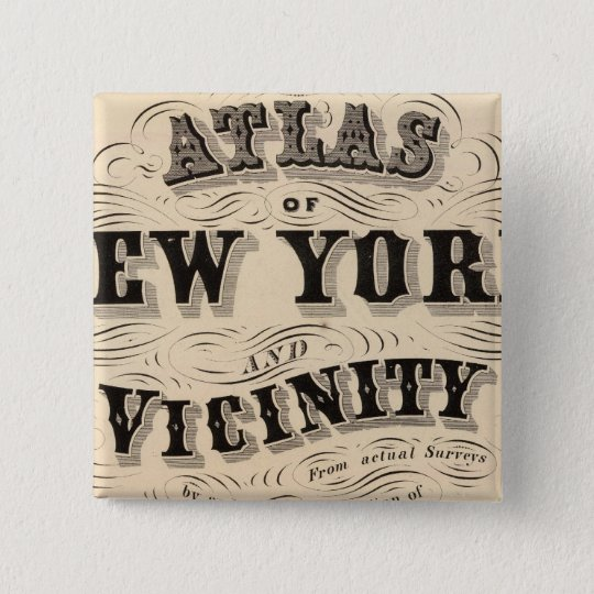 Title Page Atlas of New York, vicinity Pinback Button