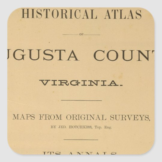 Title Page Augusta County, Virginia Square Sticker