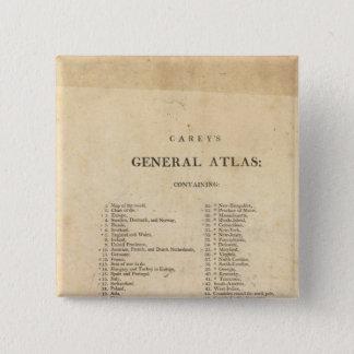 Title Page Carey's general atlas Pinback Button