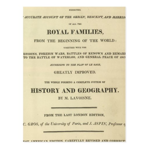 Title Page Complete Genealogical, Historical Postcard