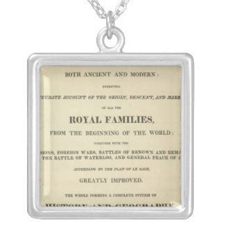 Title Page Complete Genealogical, Historical Square Pendant Necklace