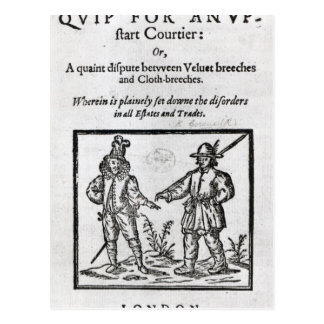 Title page for 'A Quip for an Upstart Courtier' Postcard
