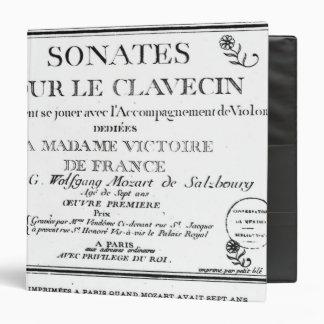 Title Page for 'Sonates pour le clavecin' Binders