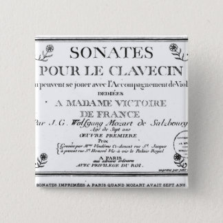 Title Page for 'Sonates pour le clavecin' Pinback Button