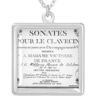 Title Page for 'Sonates pour le clavecin' Square Pendant Necklace