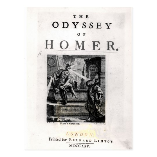 Title page for 'The Odyssey' by Homer Postcard