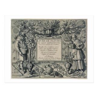 Title page from 'Livre des Fleurs' by Jean Le Cler Postcard