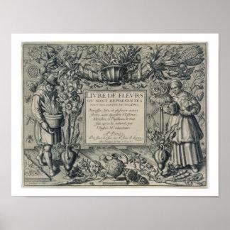 Title page from 'Livre des Fleurs' by Jean Le Cler Poster