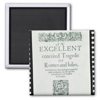 Title Page from 'Romeo and Juliet' 2 Inch Square Magnet