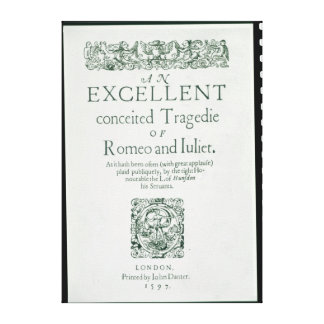 Title Page from 'Romeo and Juliet' Canvas Prints