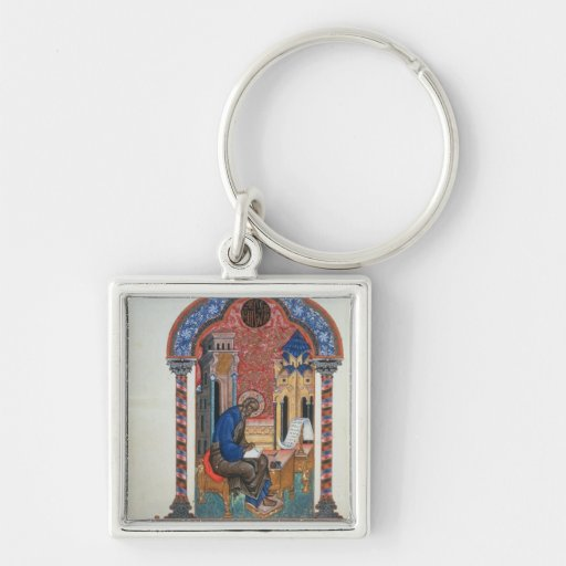 Title page from the four Gospels of Isaac Birev, 1 Silver-Colored Square Keychain
