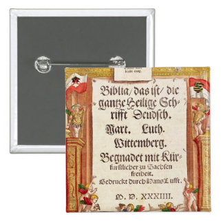 Title page from the Luther Bible, c.1530 2 Inch Square Button