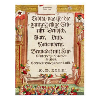 Title page from the Luther Bible, c.1530 Postcard