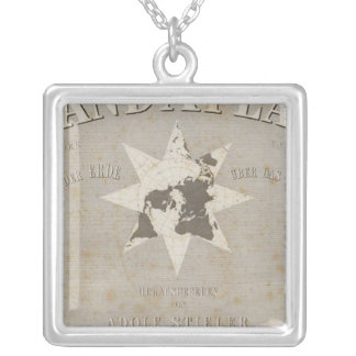 Title Page Hand Atlas of parts of Earth Silver Plated Necklace