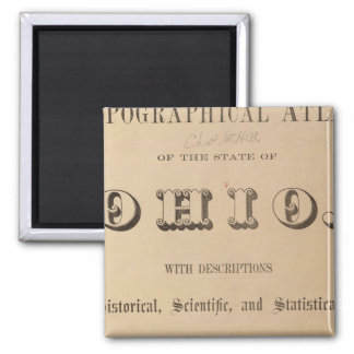 Title Page of a Topographical Atlas 2 Inch Square Magnet