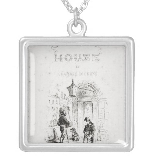 Title page of 'Bleak House' Square Pendant Necklace