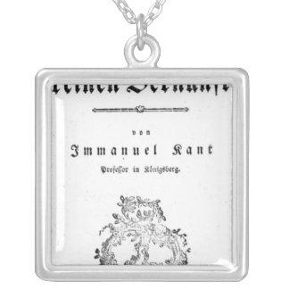 Title Page of 'Critique of Pure Square Pendant Necklace