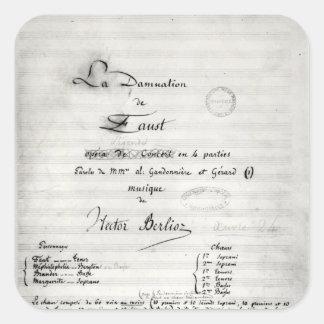 Title page of 'La Damnation de Faust' Square Sticker