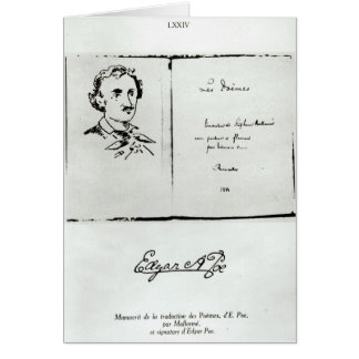 Title Page of 'Les Poemes' by Edgar Allan Poe Greeting Card