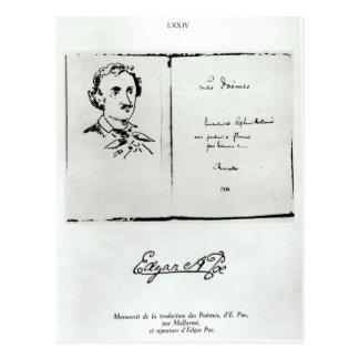 Title Page of 'Les Poemes' by Edgar Allan Poe Postcard