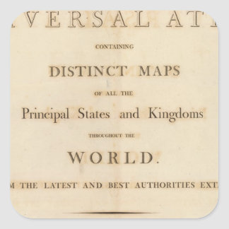 Title Page of New universal atlas Square Sticker