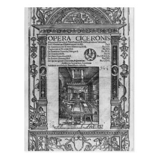 Title page of 'Opera Ciceronis', published 1520 Postcard