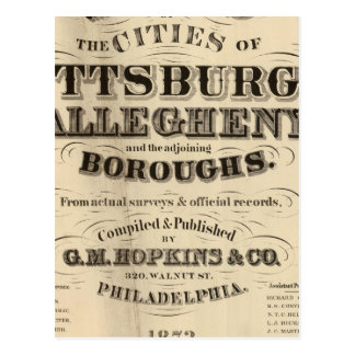 Title Page Pittsburgh, Allegheny atlas Postcard