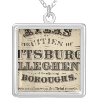 Title Page Pittsburgh, Allegheny atlas Silver Plated Necklace