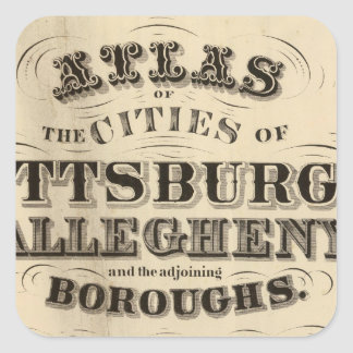 Title Page Pittsburgh, Allegheny atlas Square Sticker
