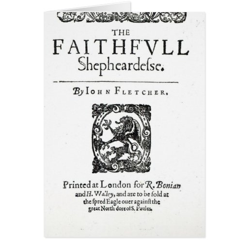 Title Page to 'The Faithfull Shepherdess' Card