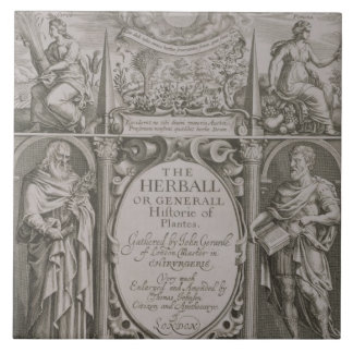 Title page to the second edition of 'The Herball' Large Square Tile