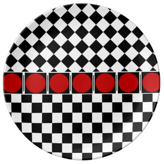 TITLE: Stylish Black White Half Diamond Checkers r Dinner Plate