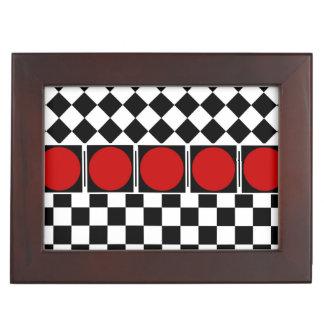 TITLE: Stylish Black White Half Diamond Checkers r Memory Box
