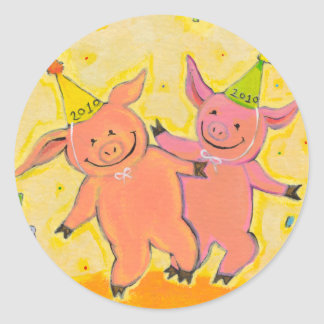 Titled:  2010 Pigs - Fun New Year party pig art Round Stickers