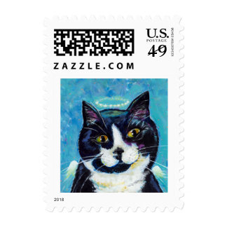 Titled:  Animals Protect Us - cat Angel art Postage Stamp