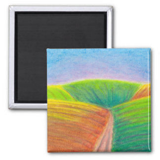 Titled:  Crops - colorful crayon ART Refrigerator Magnet