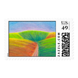 Titled:  Crops - colorful crayon ART Postage