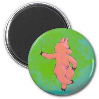 Titled:  Elusive Irish Dancing Pig Magnets