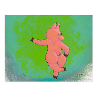 Titled:  Elusive Irish Dancing Pig Postcard