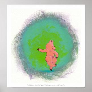Titled:  Elusive Irish Dancing Pig Poster