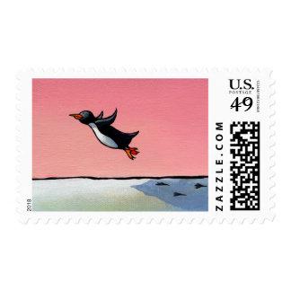 Titled: Eternal Optimist - ambitious penguin art Stamp