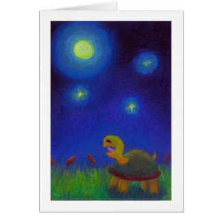 Titled:  Full moon A Capella - singing turtle ART Card