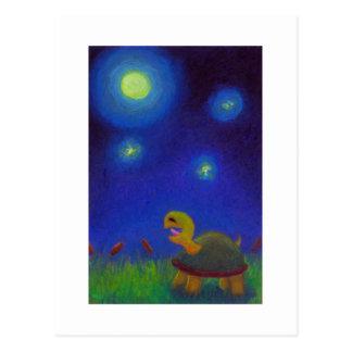 Titled:  Full moon A Capella - singing turtle ART Postcard