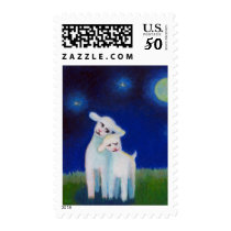 Titled:  Full Moon Sweethearts - lambs sheep love Postage