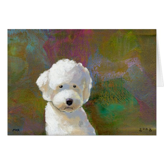 Titled: I'm Thinking About It - adorable white dog Card