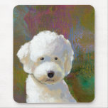 Titled: I'm Thinking About It - adorable white dog Mouse Pads