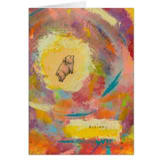 Titled:  (In Motion) Action - flying pot belly pig Greeting Card