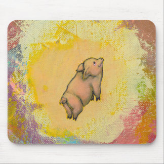 Titled:  (In Motion) Action - flying pot belly pig Mouse Pad