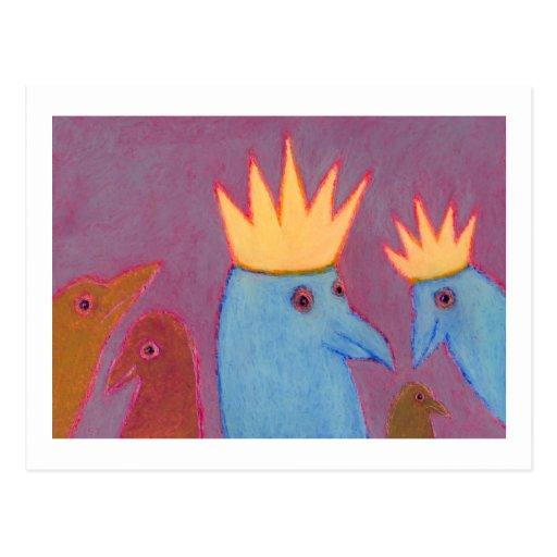 Titled:  Let's Wear Crowns - FUN BIRD ART Postcard